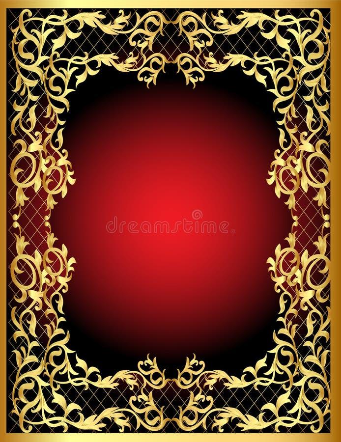 замотка картины золота рамки vegetable иллюстрация вектора