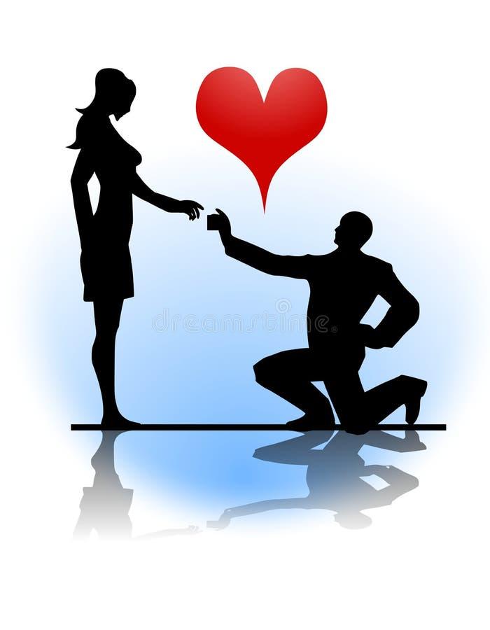 замужество человека предлагая к женщине бесплатная иллюстрация