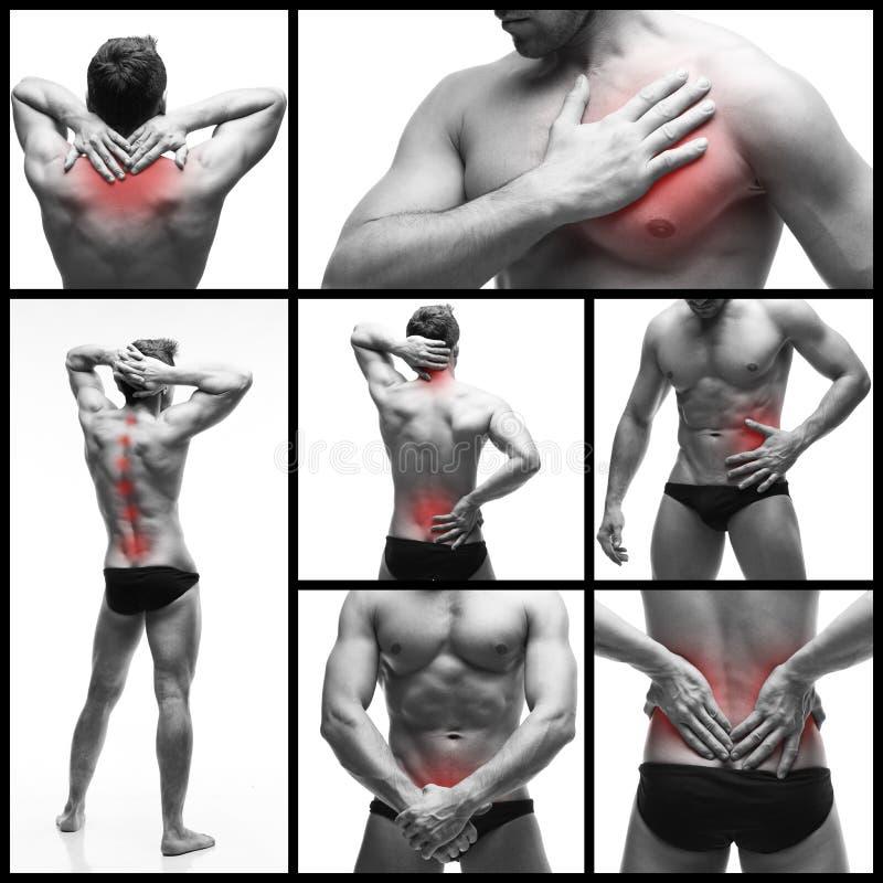 Замучьте в теле человека изолированном на белой предпосылке Коллаж b стоковое фото rf