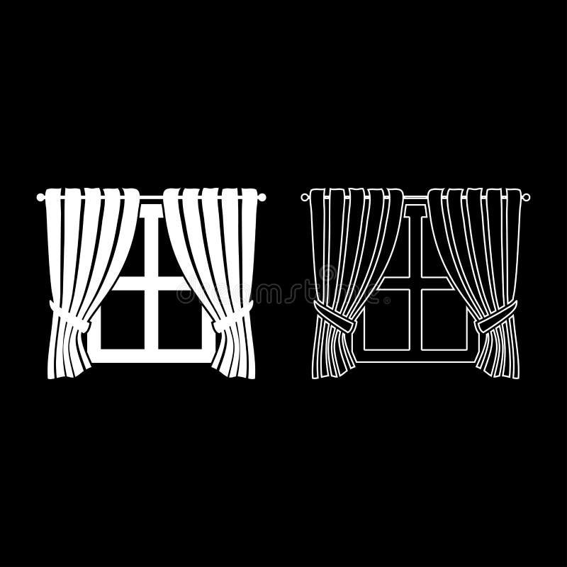 Занавесы и украшения взгляда окна концепции окна занавесы внутреннего домашнего развевая на плане значка окна установили белый ве бесплатная иллюстрация