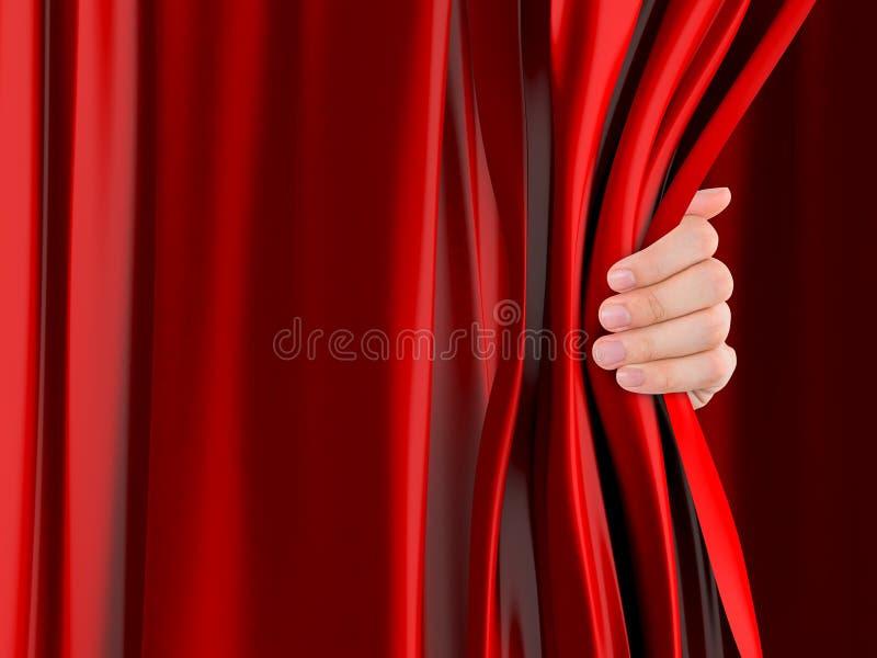 Занавес отверстия руки стоковые изображения rf