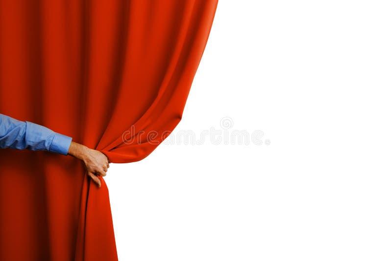 Занавес руки открытый красный стоковая фотография rf