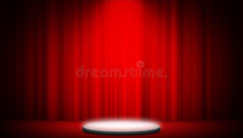Занавес театра красный на предпосылке развлечений графиков этапа, красной предпосылке занавеса стоковые изображения rf