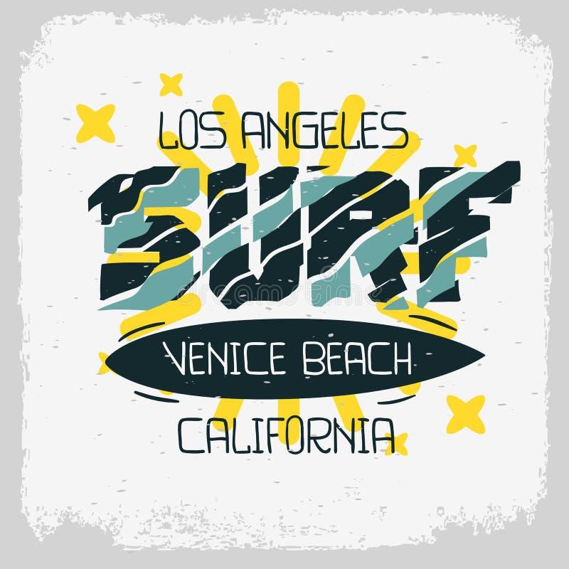 Заниматься серфингом нарисованная рука дизайна Лос-Анджелеса Калифорния пляжа Венеции помечающ буквами тип типографскую обработку иллюстрация вектора
