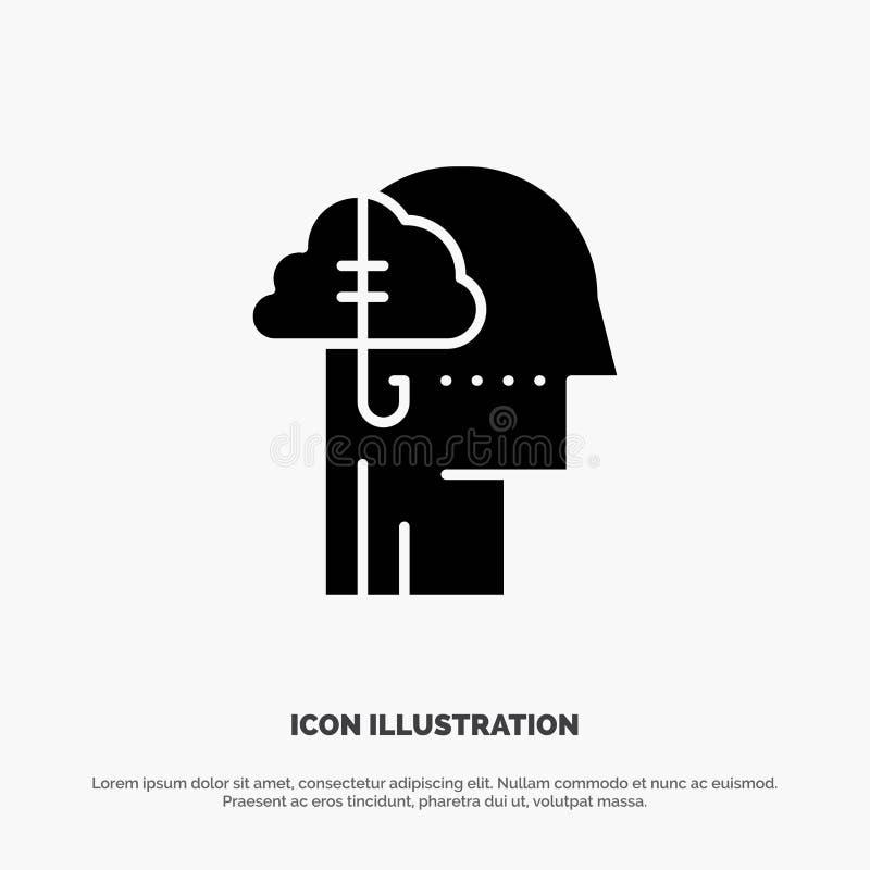 Занимать идеи, наркомания, задвижка, привычка, человеческий твердый вектор значка глифа иллюстрация вектора