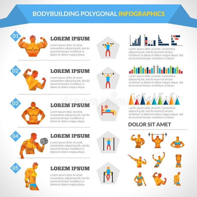 Занимаясь культуризмом полигональное Infographics иллюстрация вектора