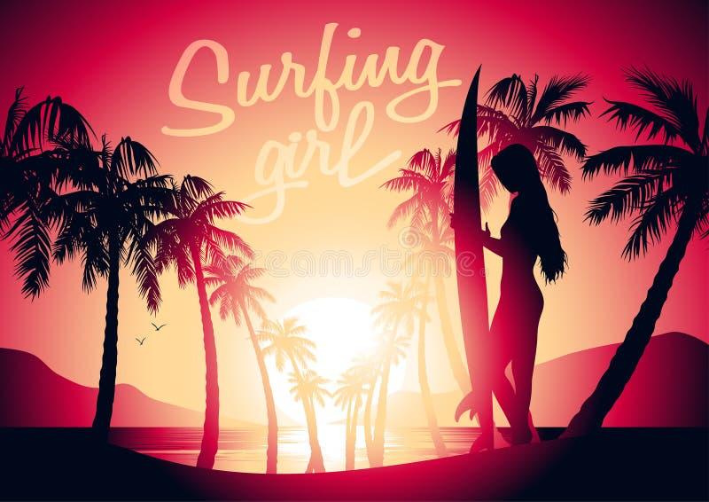Занимаясь серфингом девушка и восход солнца на тропическом пляже иллюстрация штока