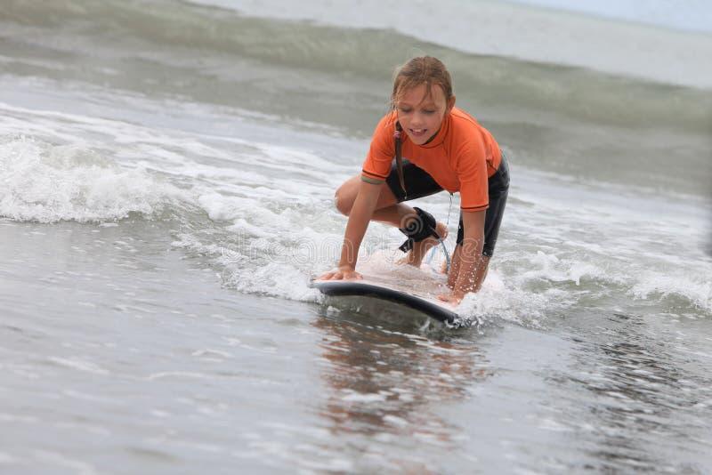 Занимаясь серфингом девушка стоковые изображения rf