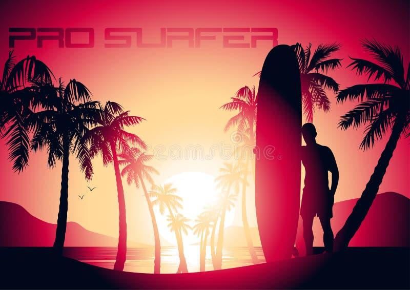 Занимаясь серфингом парень и восход солнца на тропическом пляже иллюстрация вектора