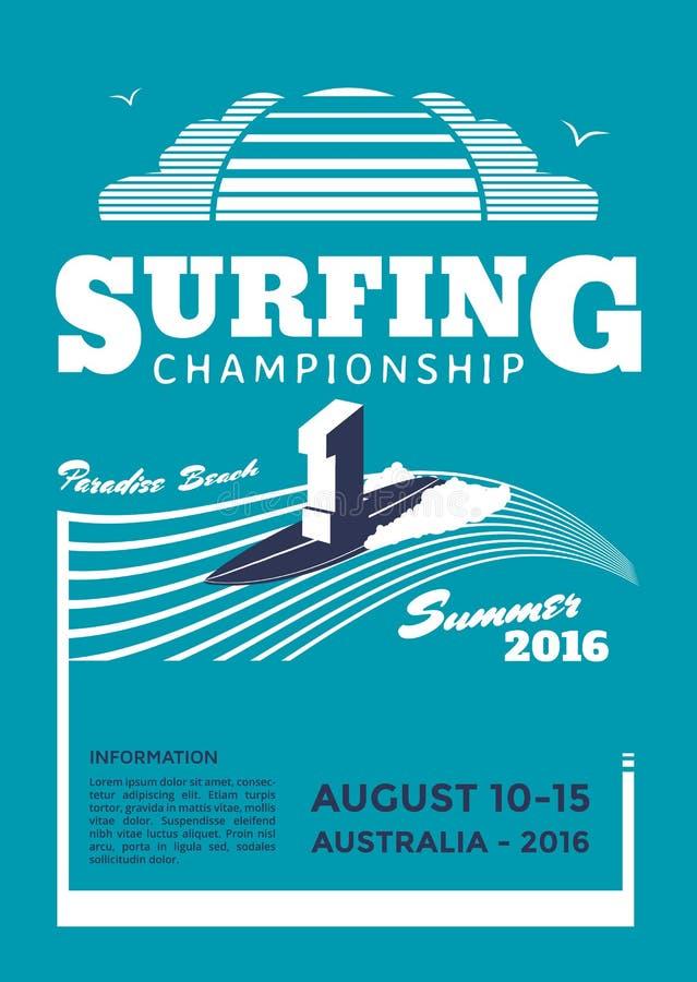 Занимаясь серфингом плакат чемпионата бесплатная иллюстрация