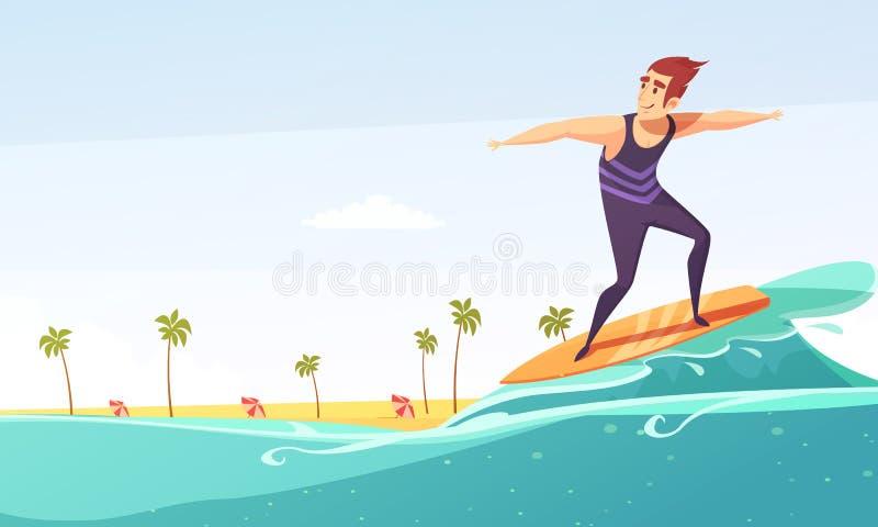 Занимаясь серфингом тропический плакат шаржа пляжа бесплатная иллюстрация