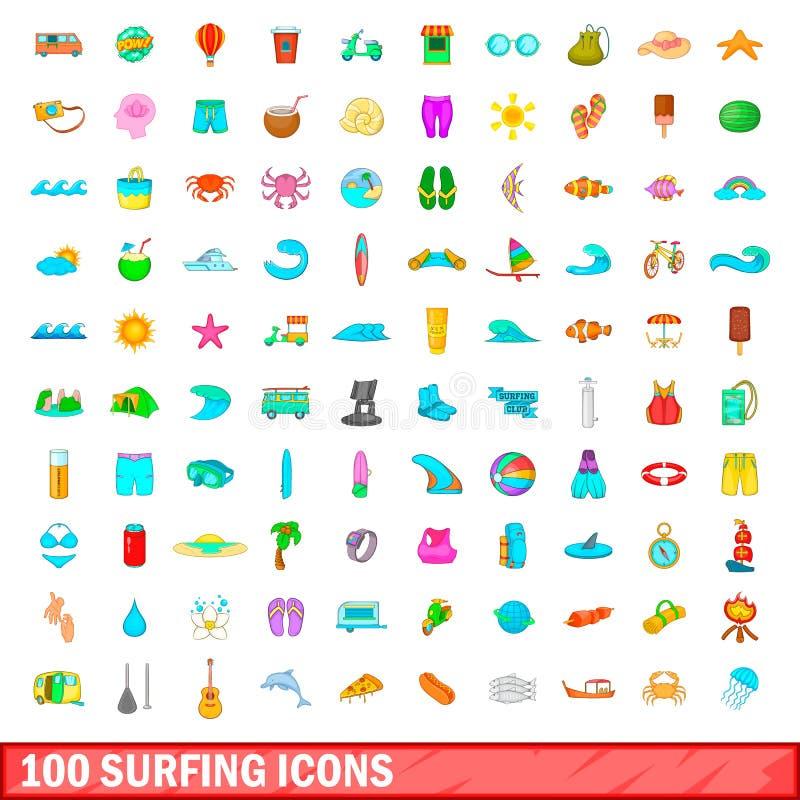 100 занимаясь серфингом установленных значков, стиль шаржа бесплатная иллюстрация