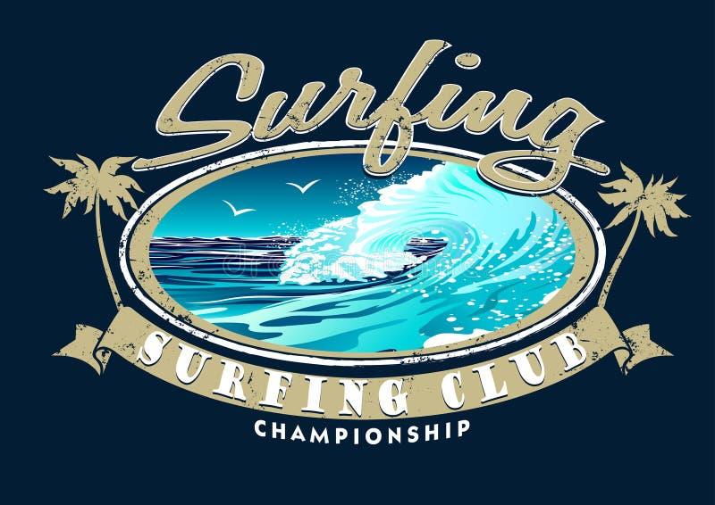 Занимаясь серфингом чемпионат клуба с занимаясь серфингом волной иллюстрация штока