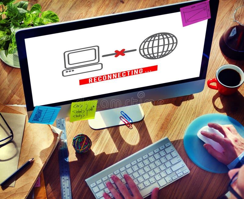 Заново соединять концепцию интернета доступа disconnected стоковая фотография