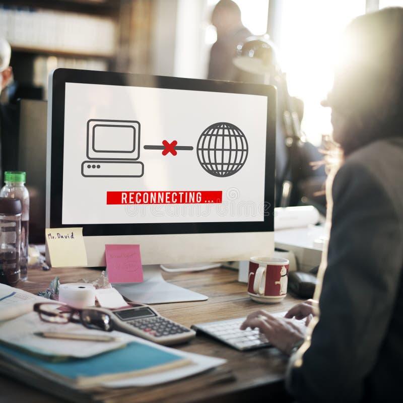 Заново соединять концепцию интернета доступа disconnected стоковое фото