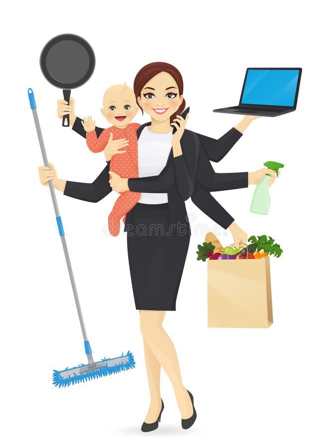 Занятая мать с младенцем иллюстрация вектора