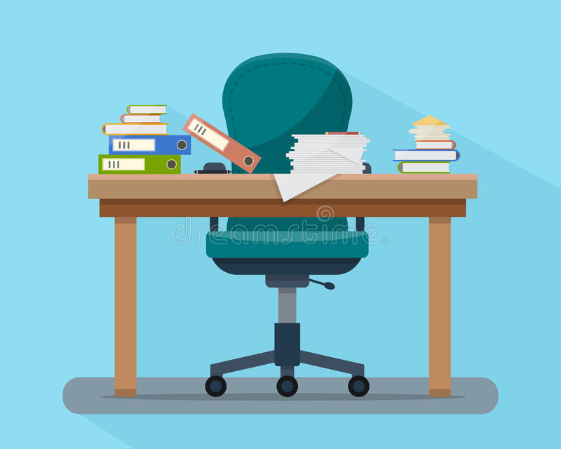 Занятая созданная суматоху таблица офиса трудная работа иллюстрация штока