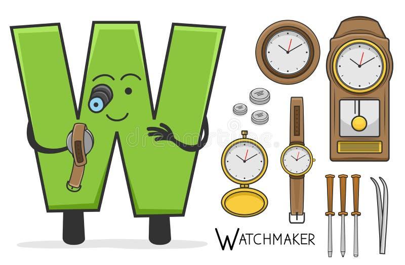 Занятие Alphabeth - письмо w - часовщик иллюстрация вектора