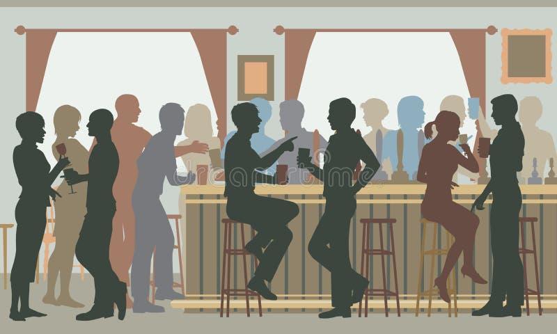 Занятый бар паба бесплатная иллюстрация