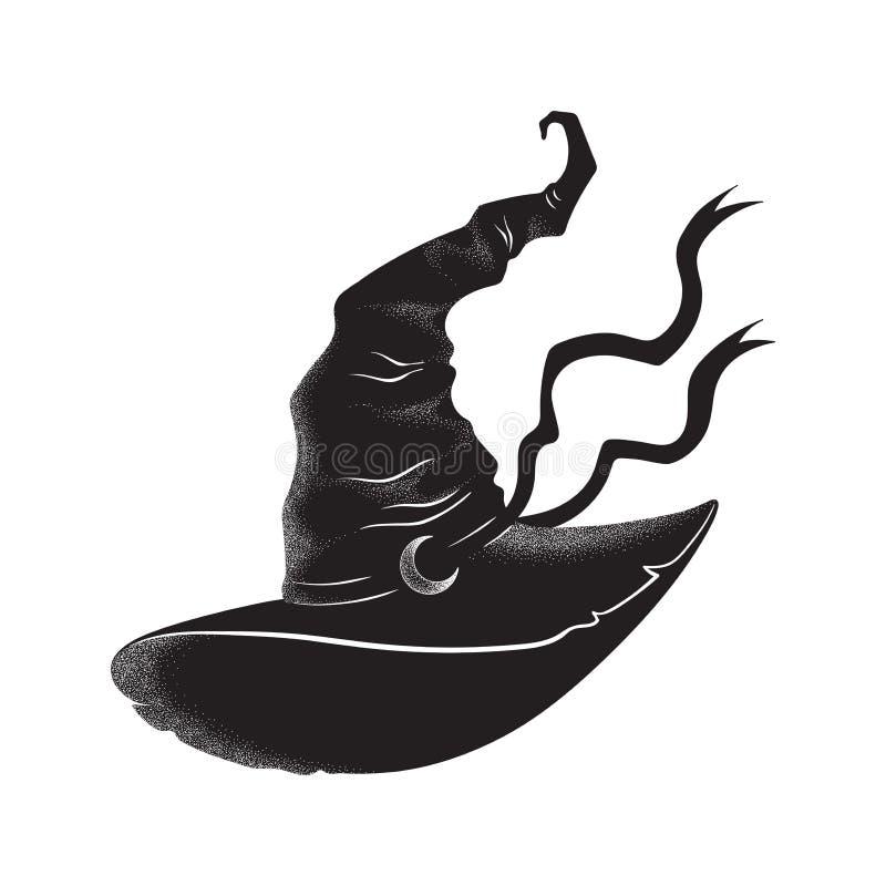 Заостренная шляпа ведьмы с линией искусством и dotwork серповидной руки луны вычерченной Плакат Boho шикарный, внезапная татуиров бесплатная иллюстрация