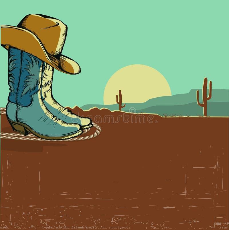 Западная иллюстрация изображения с ландшафтом пустыни иллюстрация вектора