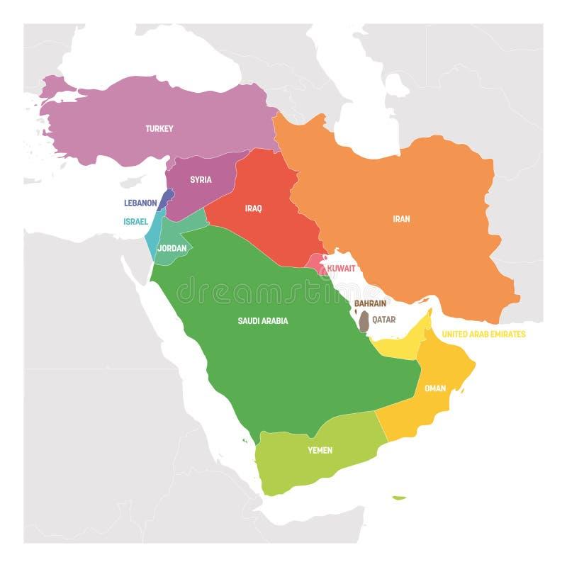 Западная область Азии Красочная карта стран в западной иллюстрации вектора Азии или Ближнего Востока иллюстрация вектора