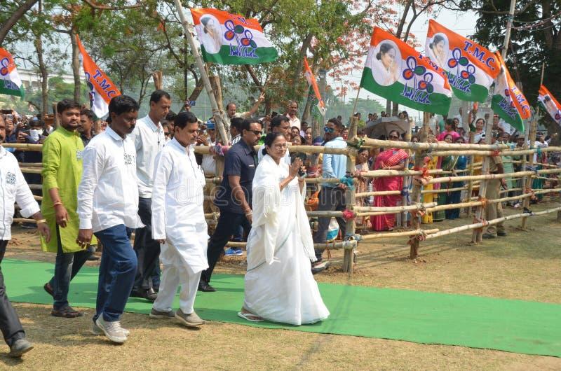 Западного ралли избрания Mamata Banerjee премьер-министра Бенгалии на Burdwan стоковые фотографии rf