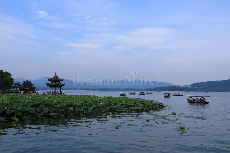 Западное озеро Ханчжоу Древности, старые стоковые фотографии rf
