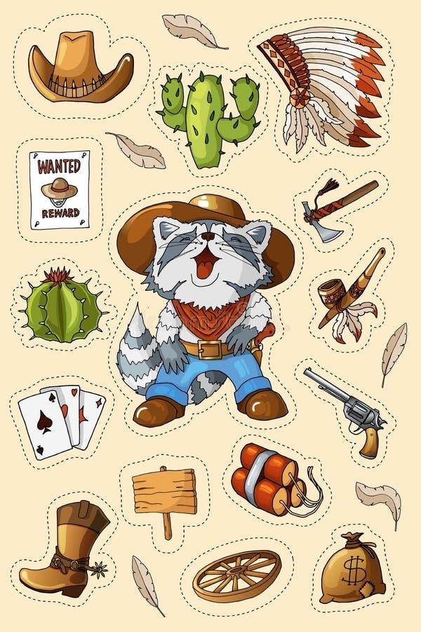 Западный набор стикеров искусства Дикого Запада Оружие, пули, кактусы и много других деталей бесплатная иллюстрация