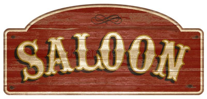 Запад деревянного знака салона винтажный ретро старый иллюстрация вектора