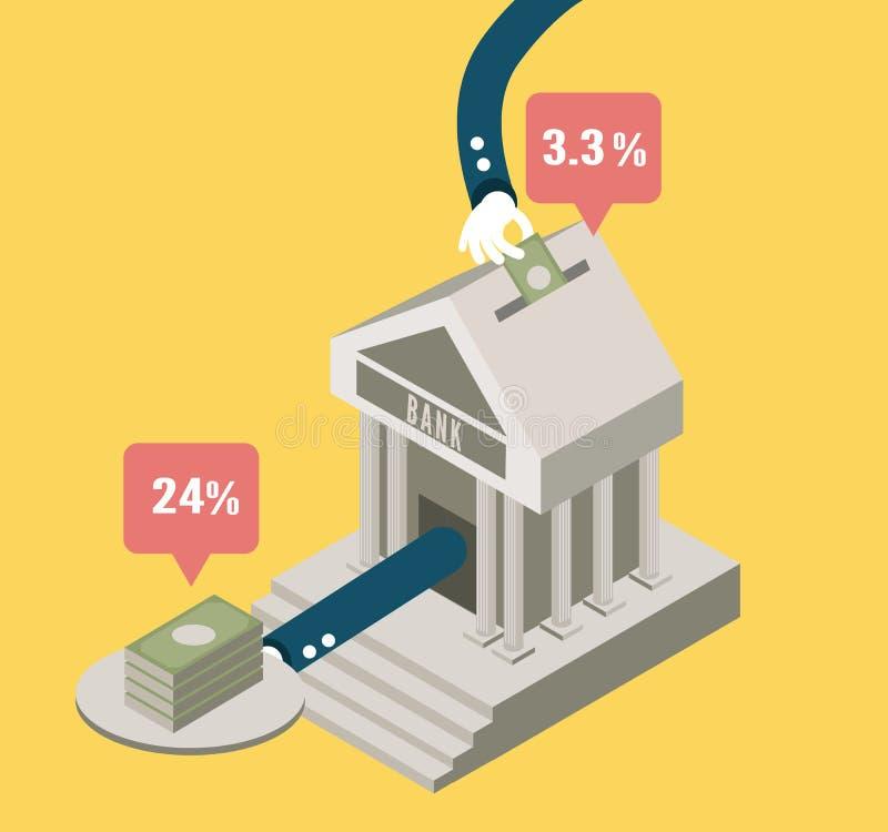 Запас и вклад банка иллюстрация вектора