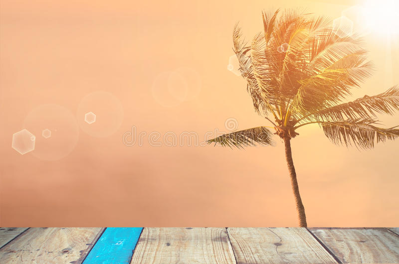 Запачкайте тропический пляж захода солнца с предпосылкой конспекта пальмы стоковое фото