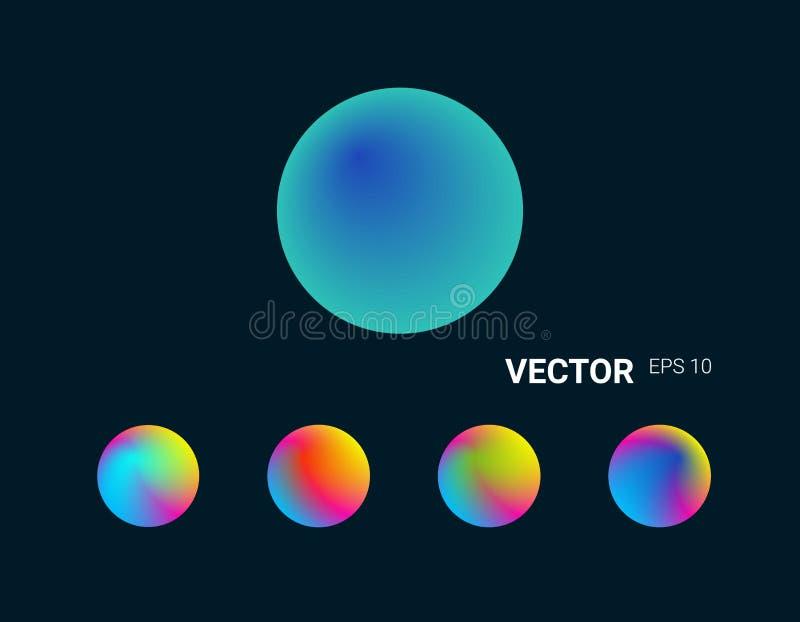 Запачканная конспектом предпосылка сетки градиента Красочный приглаживайте Комплект кругов иллюстрация штока