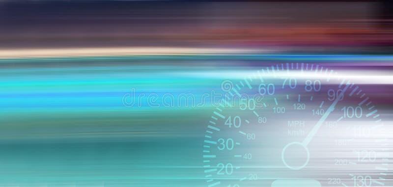Запачканное движение Расплывчатые света спеша автомобилей в городе ночи Спидометр автомобиля иллюстрация вектора