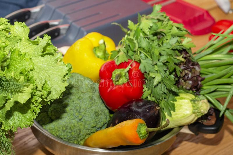 Запачканные овощи для предпосылки Брокколи паприки, цукини стоковые фотографии rf