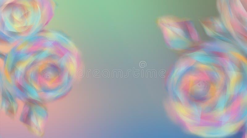 Запачканные розовые цветки на красивой предпосылке цвета радуги иллюстрация вектора