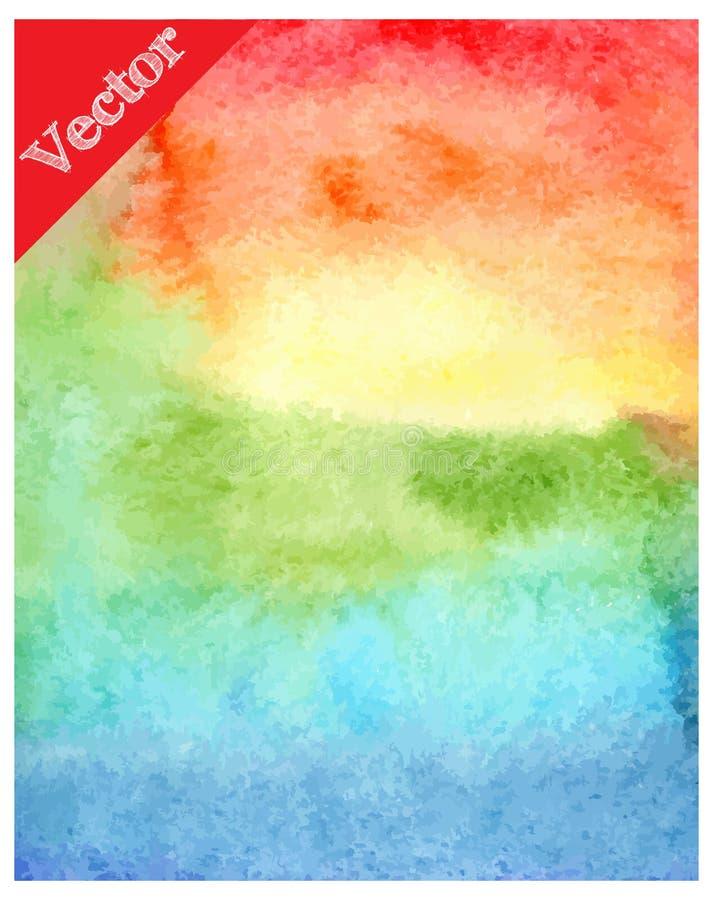 Запачканный вектор предпосылки радуги акварели стоковое изображение