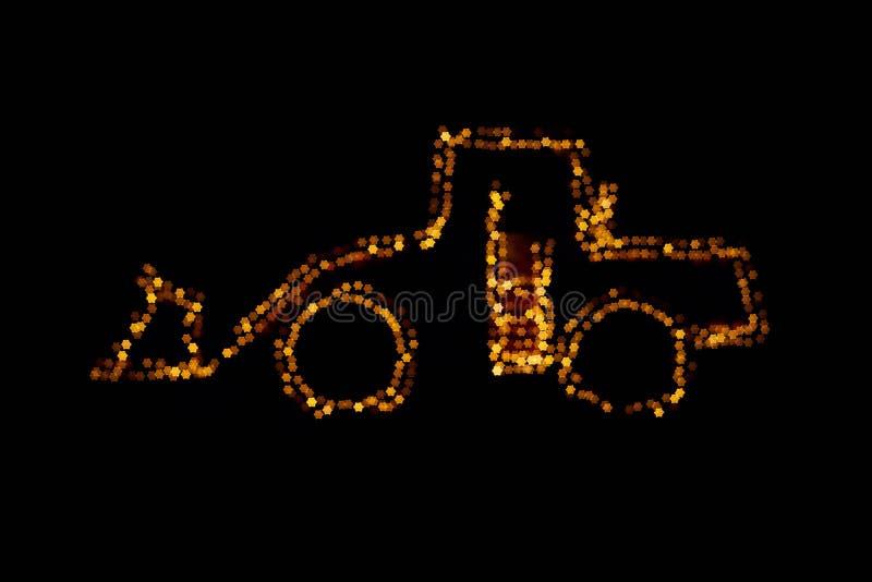 Запачканный затяжелитель колеса украшенный с светами стоковые изображения rf
