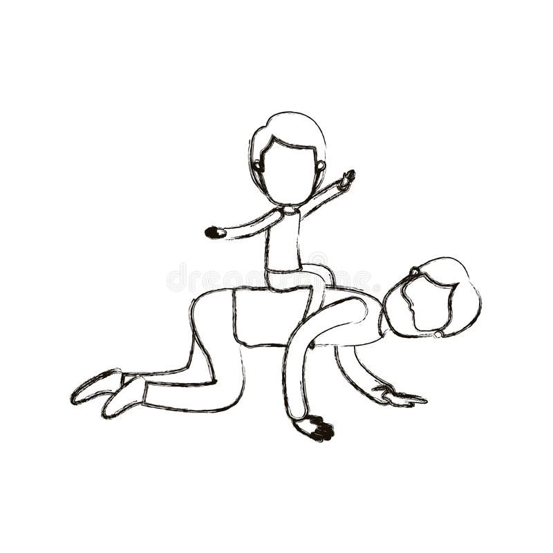 Запачканный отец карикатуры силуэта безликий бородатый с мальчиком играя лошадь на его назад бесплатная иллюстрация