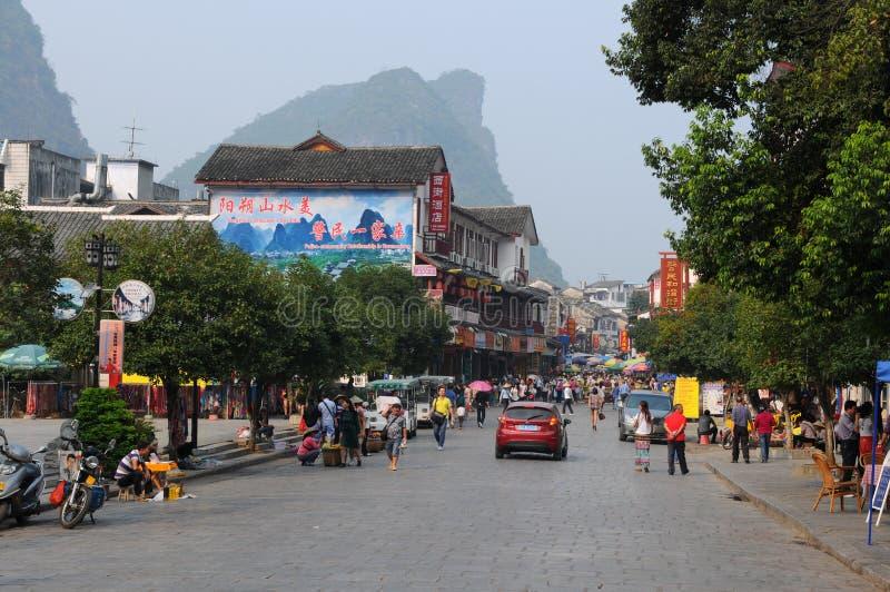 Западная улица YangShuo стоковые изображения rf
