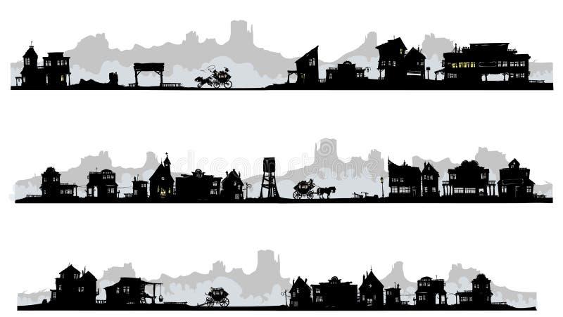 Западные здания силуэта стиля. бесплатная иллюстрация