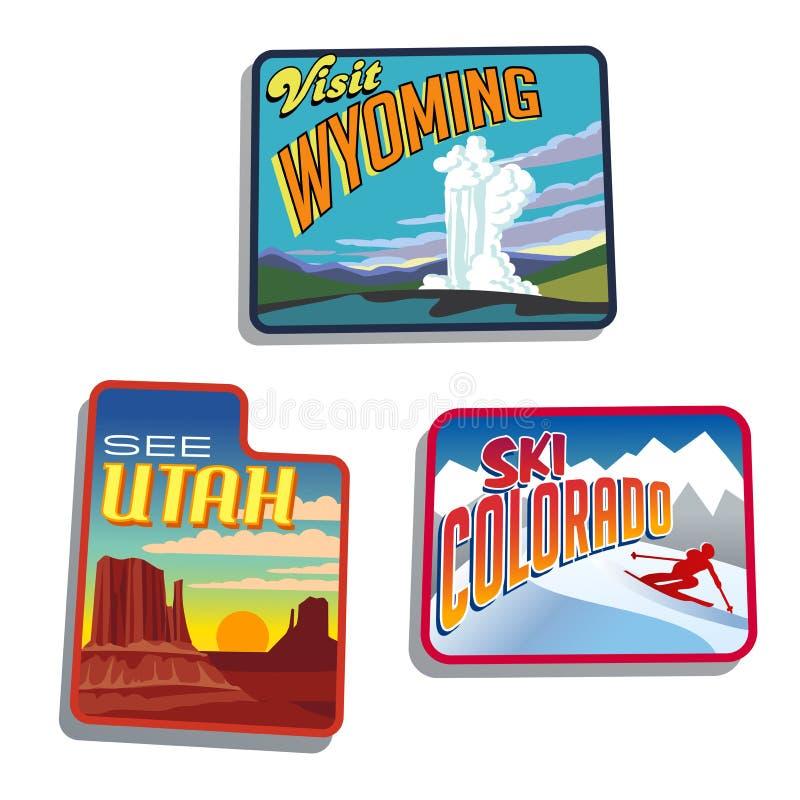 Западные дизайны иллюстраций Соединенных Штатов Юты Колорадо Вайоминга иллюстрация вектора
