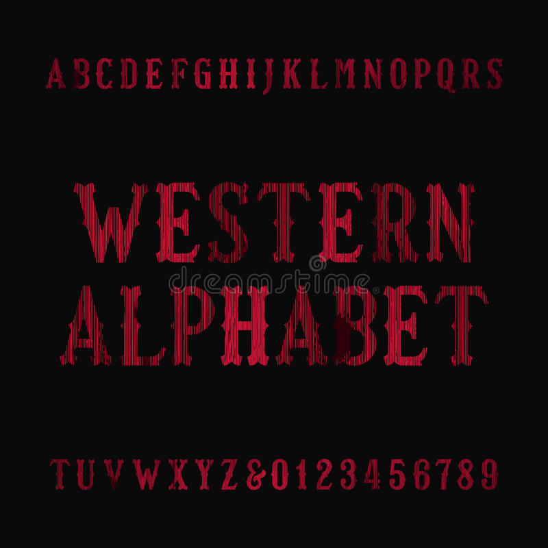 Западный винтажный шрифт алфавита Огорченные письма и номера serif бесплатная иллюстрация