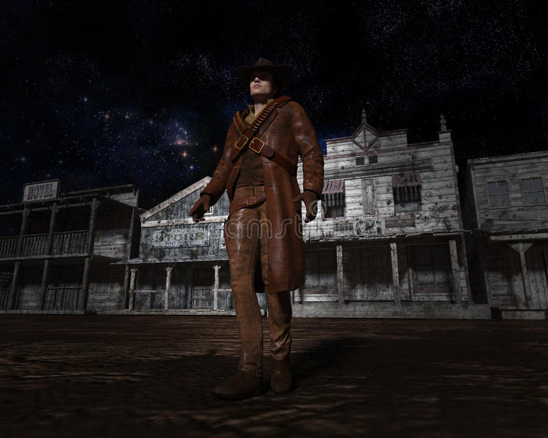 Западный городок, иллюстрация ковбоя отверженная иллюстрация штока