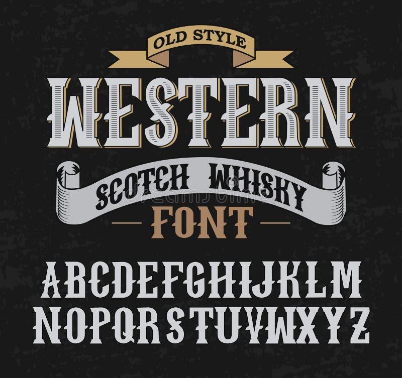 Западный шрифт ярлыка с дизайном украшения стоковая фотография rf