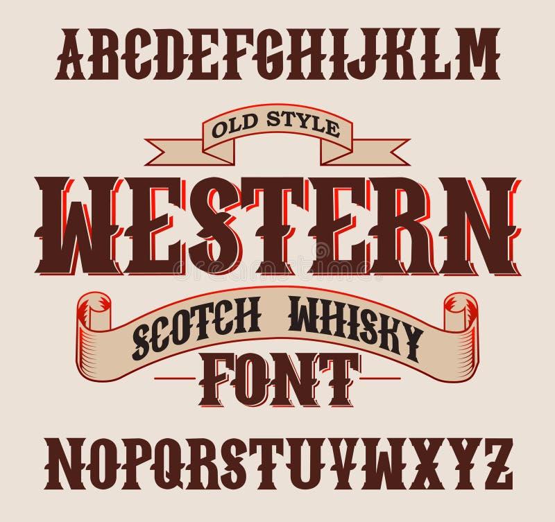 Западный шрифт ярлыка с дизайном украшения стоковое изображение rf