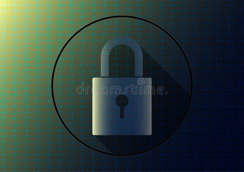 Запертый ключ на голубой предпосылке бинарного кода, концепции кодирования данных компьютера бесплатная иллюстрация