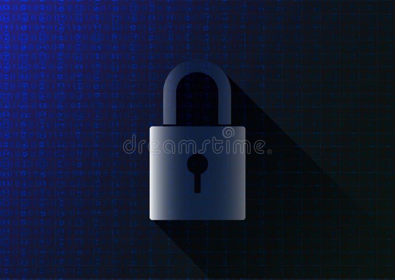 Запертый ключ на голубой предпосылке бинарного кода, концепции кодирования данных компьютера иллюстрация вектора