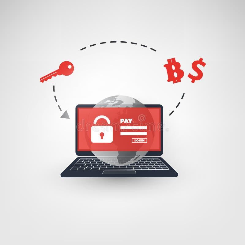 Запертый прибор, шифровать файлы, потерянные документы, глобальное нападение Ransomware - инфекция вируса, Malware, очковтиратель иллюстрация вектора