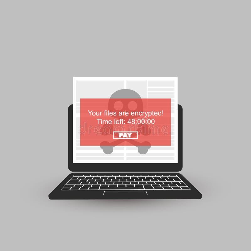 Запертый прибор, шифровать файлы, потерянные документы, нападение Ransomware - инфекция вируса, Malware, очковтирательство, спам, бесплатная иллюстрация